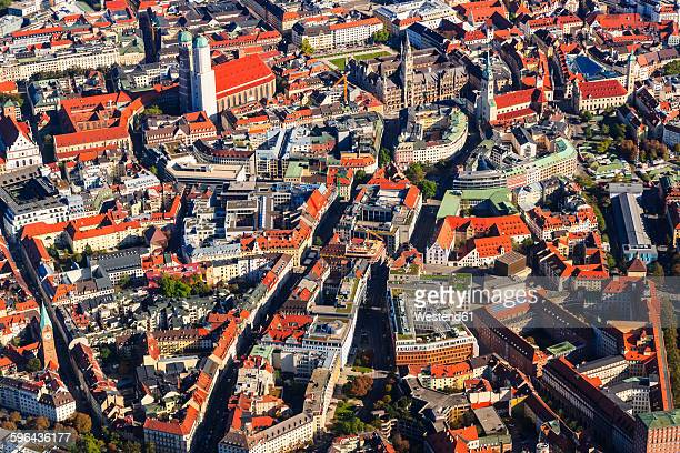germany, bavaria, munich, aerial view of old town - new town hall munich stock pictures, royalty-free photos & images