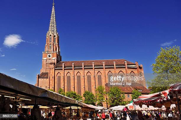 germany, bavaria, munich, auer dult, maria hilf church - christian auer stock-fotos und bilder