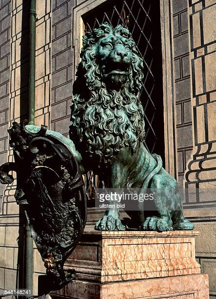 Germany Bavaria Munich Bavarian Lion Statue in front of the Royal Residence