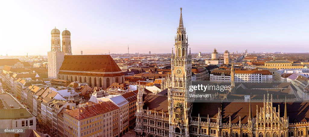 Germany, Bavaria, Munich, Church of Our Lady and New Town Hall at Marienplatz, Panorama : Stock Photo