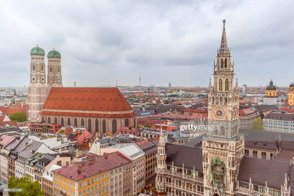 Germany, Bavaria, Munich, Church of Our Lady and New Town Hall at Marienplatz : Stock Photo