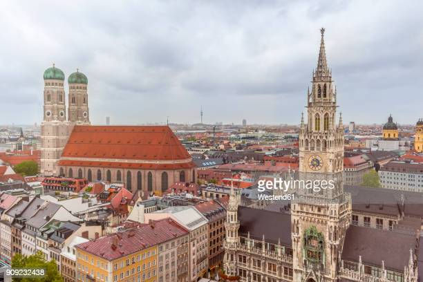 Germany, Bavaria, Munich, Church of Our Lady and New Town Hall at Marienplatz