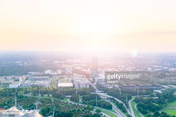 Germany, Bavaria, Munich, cityscape near Olympic Park, drone photography. Aerial view