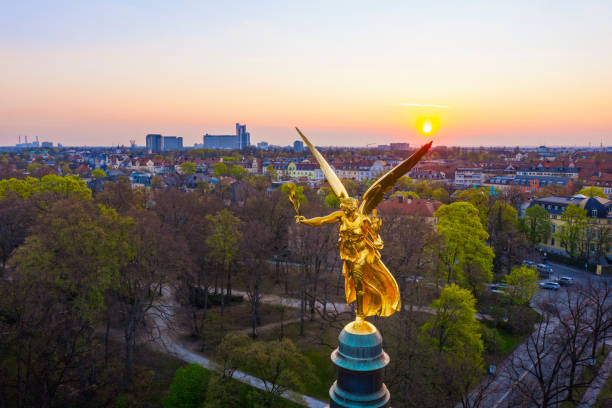 Germany, Bavaria, Munich, Drone view of Angel of Peace monument at sunrise