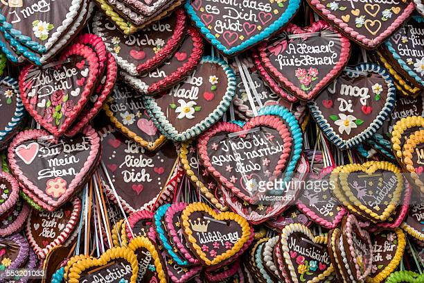Germany, Bavaria, Munich, gingerbread hearts at the Oktoberfest