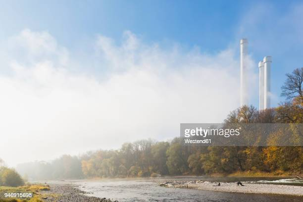 Germany, Bavaria, Munich, Isar river and cogeneration plant, Heizkraftwerk Sued