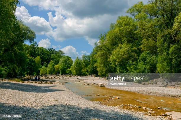 germany, bavaria, munich, isar river at flaucher - fiume isar foto e immagini stock