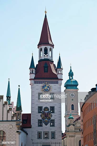 Germany, Bavaria, Munich, Marienplatz, old townhall tower, and Church of the Holy Spirit