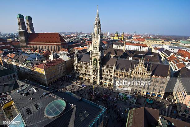 Germany, Bavaria, Munich, Marienplatz with New Town Hall and Frauenkirche