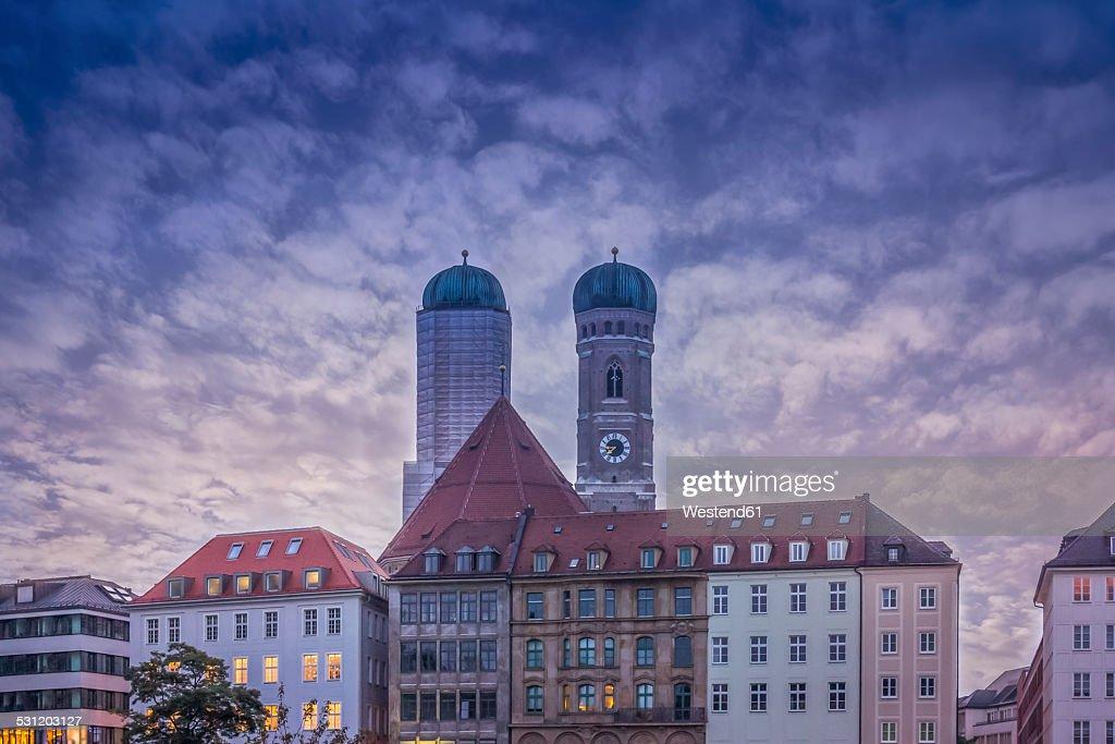 Germany, Bavaria, Munich, Munich Frauenkirche, steeples in the evening : Stock Photo