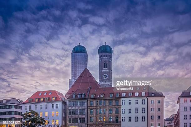 Germany, Bavaria, Munich, Munich Frauenkirche, steeples in the evening