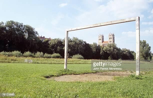 germany, bavaria, munich, old goal on pitch - menschliche siedlung stock-fotos und bilder