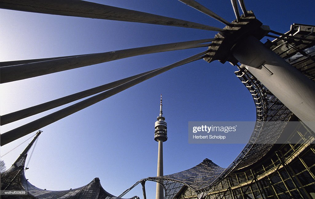 Germany, Bavaria, Munich, Olympiapark with TV tower : Stockfoto