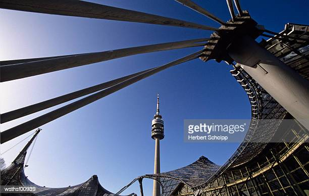 germany, bavaria, munich, olympiapark with tv tower - olympiastadion munich stock pictures, royalty-free photos & images