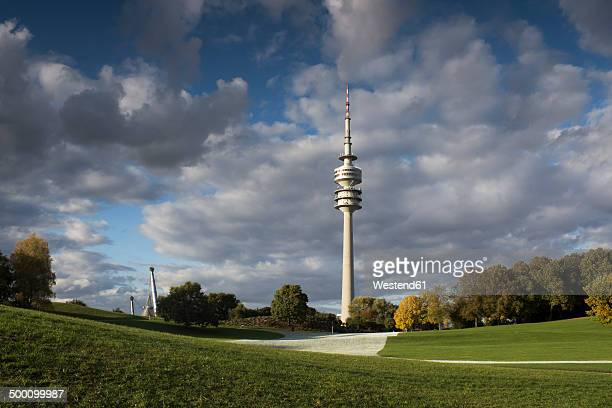 germany, bavaria, munich, olympic tower and olympic park - オリンピック公園 ストックフォトと画像