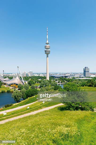 Germany, Bavaria, Munich, oympic area with TV tower, park and lake