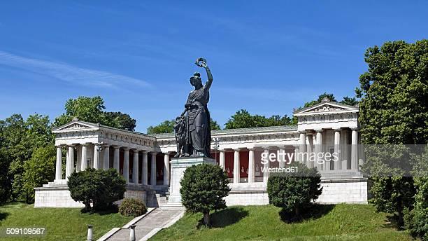 germany, bavaria, munich, ruhmeshalle with bavaria - statue stock-fotos und bilder