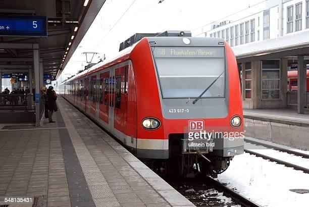 Germany Bavaria Munich SBahn line S8 to Munich Airport on the platform in Munich Ostbahnhof