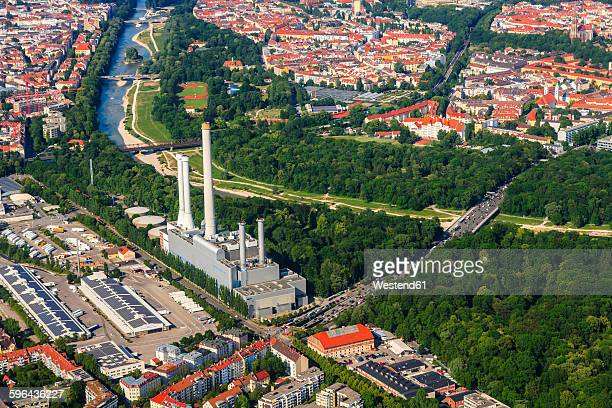 Germany, Bavaria, Munich, Sendling heating plant at Isar river