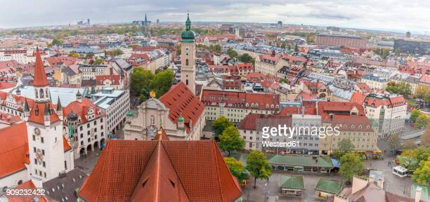Germany, Bavaria, Munich, View from Old Peter over Viktualienmarkt