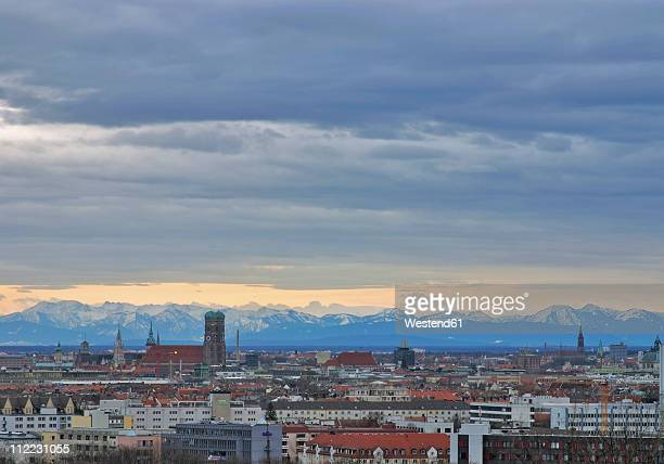 Germany, Bavaria, Munich, View of city with mountains in background