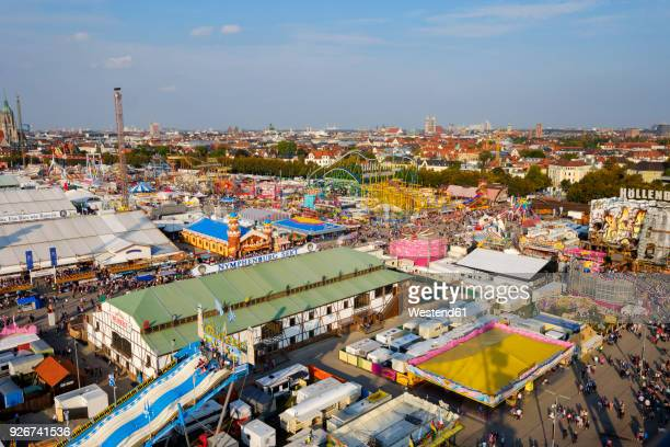 germany, bavaria, munich, view of oktoberfest fair on theresienwiese - theresienwiese stock pictures, royalty-free photos & images