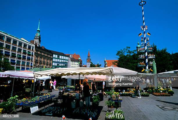 Germany Bavaria Munich Viktualienmarkt Daily Market Maypole