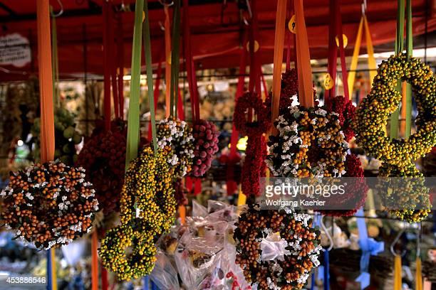 Germany Bavaria Munich Viktualienmarkt Daily Market Souvenir Stand Dried Flower Wreaths
