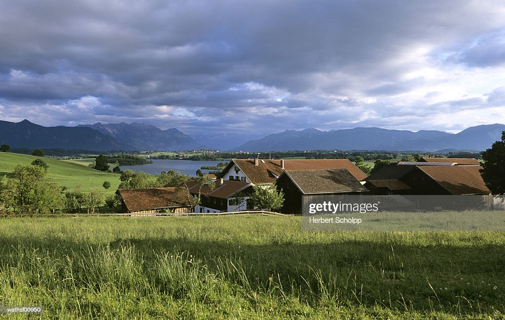Germany, Bavaria, Murnau, Farm at lake Riegsee : Stock Photo