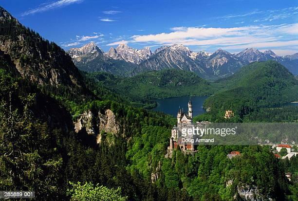 Germany, Bavaria, Neuschwanstein Castle, Alpsee Lake and Alps