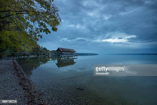 Germany, Bavaria, Nightfall at lake Ammersee