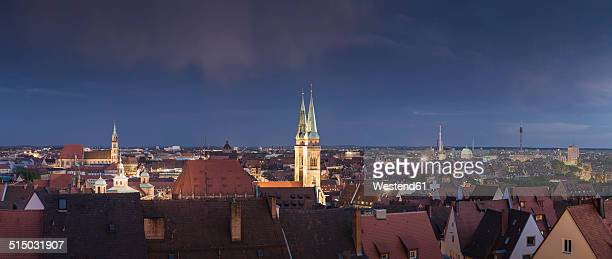 Germany, Bavaria, Nuremberg, Cityscape, Historic old town in the evening