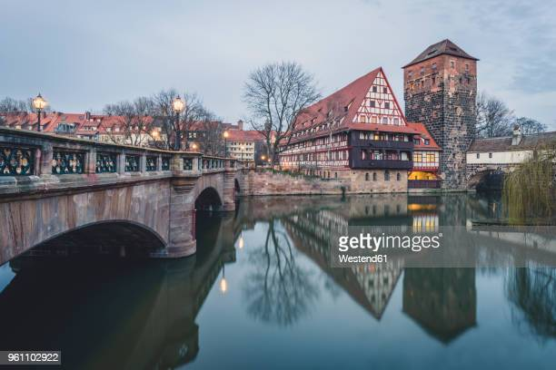 germany, bavaria, nuremberg, view from max bridge to weinstadel and henkerhaus - nuremberg stock pictures, royalty-free photos & images