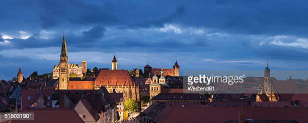 Germany, Bavaria, Nuremberg, View over city in the evening with St. Sebaldus Church and the Castle in the background