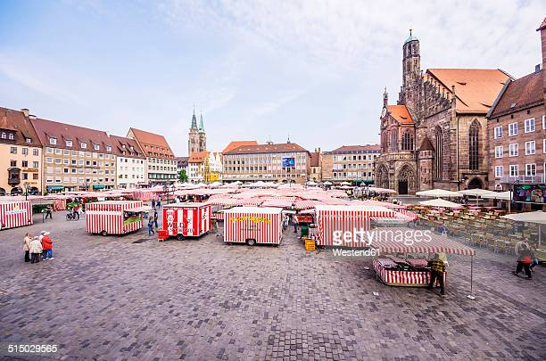 Germany, Bavaria, Nuremberg, view to market place with market stalls