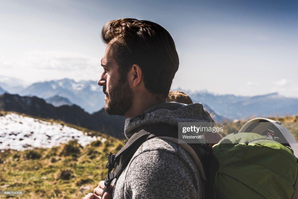 Germany, Bavaria, Oberstdorf, hiker in alpine scenery : Stock Photo