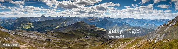 Germany, Bavaria, Oberstdorf, panoramic view from Koblat to top station Hoefatsblick