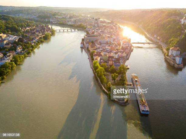 germany, bavaria, passau, confluence of three rivers, danube, inn and ilz - danube river stock pictures, royalty-free photos & images
