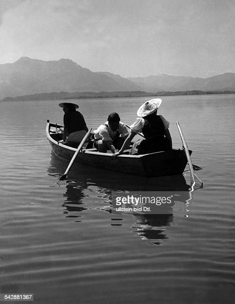 Germany Bavaria people in a row boat on the Chiemsee 1940