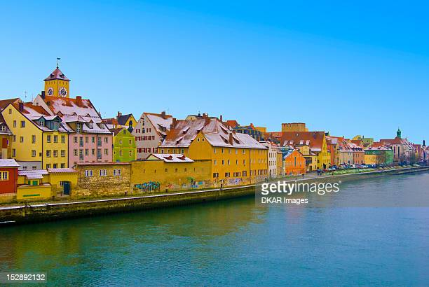 germany, bavaria, regensburg, view of city at winter - regensburg stock photos and pictures