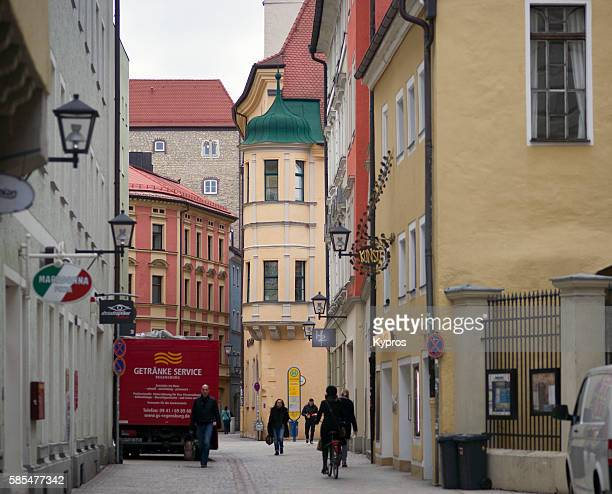 germany, bavaria, regensburg, view of general street scene - regensburg stock photos and pictures