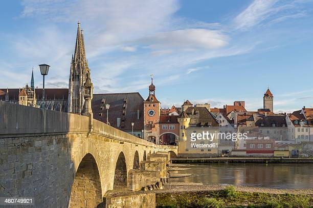 germany, bavaria, regensburg, view of regensburg cathedral and stone bridge - regensburg stock photos and pictures