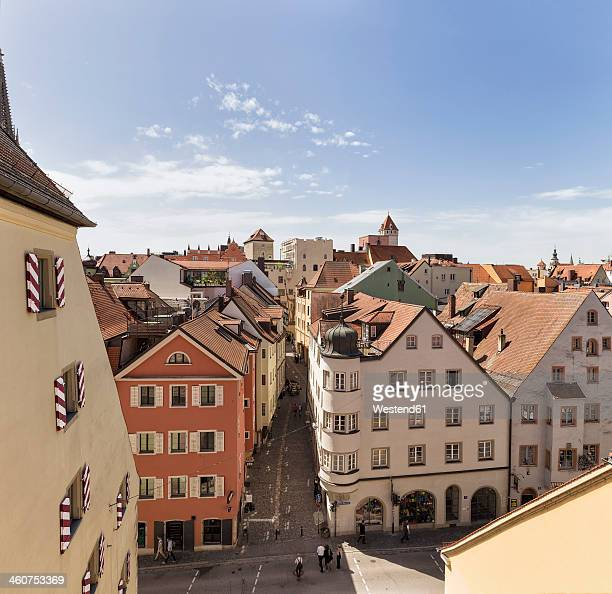germany, bavaria, regensburg, view over roofs at danube river - regensburg stock photos and pictures