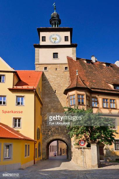 Germany Bavaria Rothenburg ob der Tauber Weisserturm or White Tower View from north side