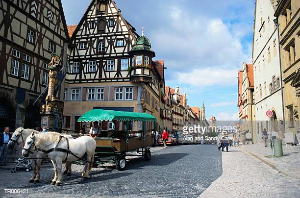 Germany, Bavaria, Rothenburg ober der Tauber, street scene