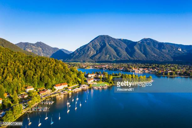 germany, bavaria, rottach-egern, aerial view of clear sky over lakeshore town - tegernsee stock pictures, royalty-free photos & images