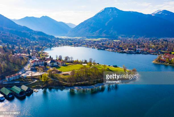germany, bavaria, rottach-egern, drone view of town on shore of tegernsee - tegernsee stock pictures, royalty-free photos & images