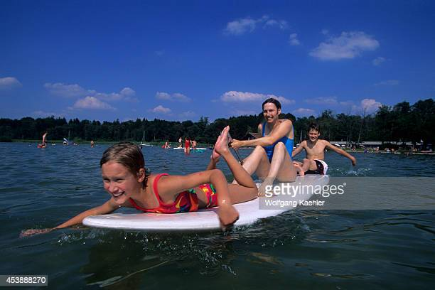 Germany Bavaria Starnberger See Lake Near Seeshaupt Family On Windsurf Board Model Release