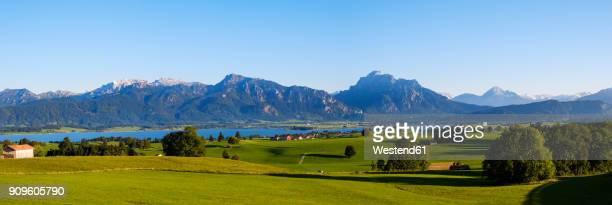 Germany, Bavaria, Swabia, Allgaeu, East Allgaeu, View from Ussenburg near Rosshaupten, Lake Forggensee and Ammergau Alps