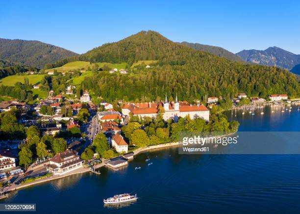 germany, bavaria, tegernsee, aerial view of tegernsee abbey - tegernsee stock pictures, royalty-free photos & images